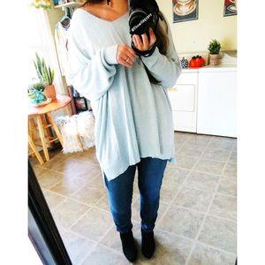 NWOT Torrid minty blue slouchy knit sweater 🍂